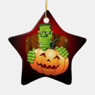 Frankenstein Monster Cartoon with Pumpkin Ceramic Ornament