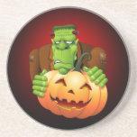 Frankenstein Monster Cartoon with Pumpkin Drink Coaster