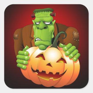 Frankenstein Monster Cartoon with Pumpkin Stickers