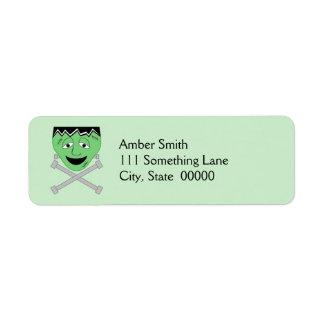 Frankenstein Monster Face And Crossbolts Label