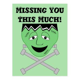 Frankenstein Monster Face And Crossbolts Postcard