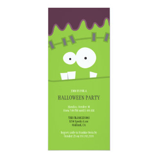 Frankenstein Monster Face Halloween Party Card
