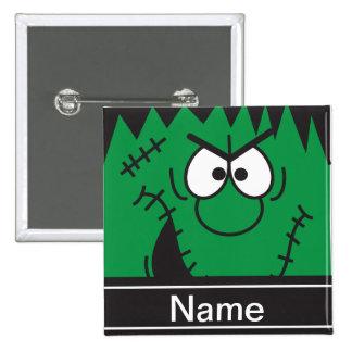 Frankenstein Monster Head Halloween Personalize Buttons
