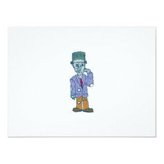 Frankenstein Monster Standing Cartoon 17 Cm X 22 Cm Invitation Card