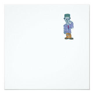 Frankenstein Monster Standing Cartoon 13 Cm X 13 Cm Square Invitation Card