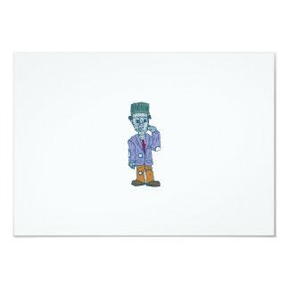 Frankenstein Monster Standing Cartoon 9 Cm X 13 Cm Invitation Card