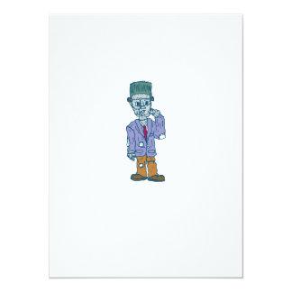 Frankenstein Monster Standing Cartoon 14 Cm X 19 Cm Invitation Card