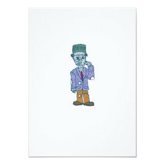 Frankenstein Monster Standing Cartoon 11 Cm X 16 Cm Invitation Card