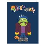 Frankenstein - muchachos de Halloween Postal