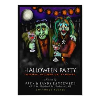 """Frankenstein y el fiesta de Halloween de la fecha Invitación 5"""" X 7"""""""