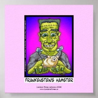 Frankenstein's Hamster Funny Cartoon Poster