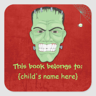 Frankensteins Monster and Spider - Book Belongs To Square Sticker
