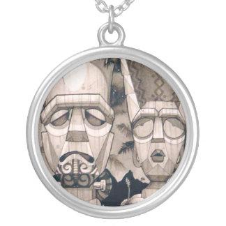 Frankentiki and Bride Round Pendant Necklace