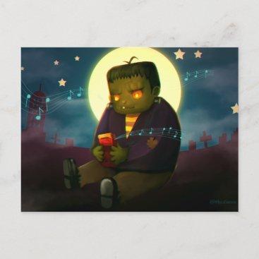 Frankestn Haloween Illustration MissChroma Holiday Postcard
