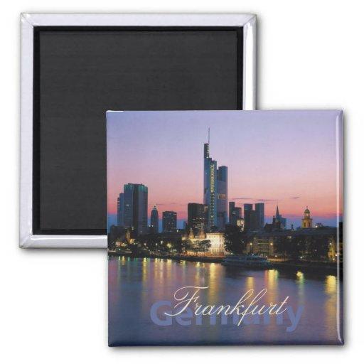 Frankfort Germany Nighttime Photo Souvenir Magnets