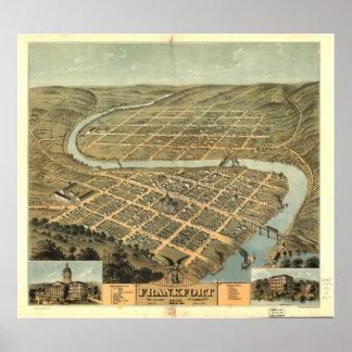 Frankfort  Kentucky 1871 Panoramic Map Poster