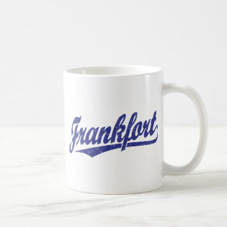 Frankfort script logo in blue distressed coffee mug