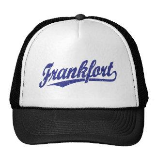 Frankfort script logo in blue distressed trucker hat