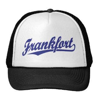 Frankfort script logo in blue trucker hat