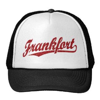 Frankfort script logo in red distressed trucker hat
