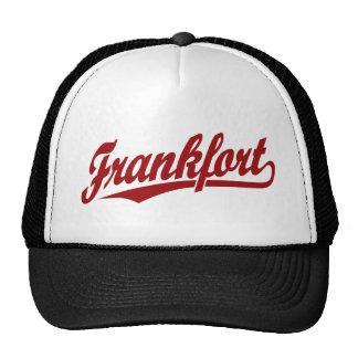 Frankfort script logo in red trucker hat
