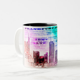 Frankfurt, architecture - Popart illustration Two-Tone Coffee Mug