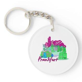 frankfurt city maroon travel vacation design.png key chains