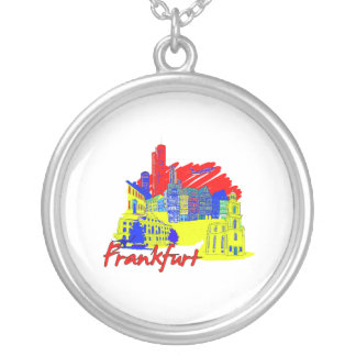 frankfurt city primary  travel vacation design.png round pendant necklace