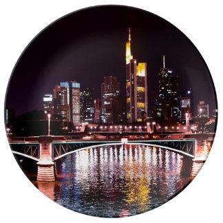 Frankfurt Cityscape at Night Porcelain Plate
