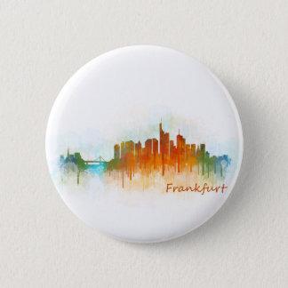 Frankfurt Germany City Watercolor Skyline Hq v3 Button