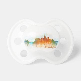 Frankfurt Germany City Watercolor Skyline Hq v3 Pacifier