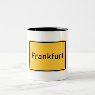 Frankfurt, Germany Road Sign Two-Tone Coffee Mug