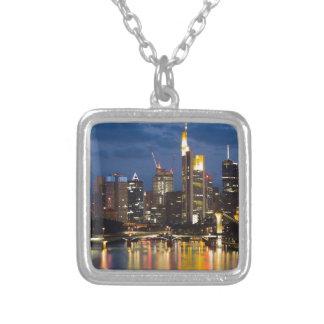 Frankfurt skyline square pendant necklace