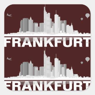Frankfurt town center of skyline gift idea square sticker