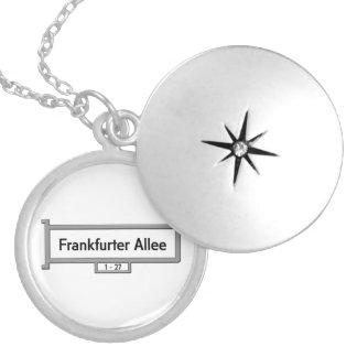 Frankfurter Allee, Germany Street Sign Round Locket Necklace