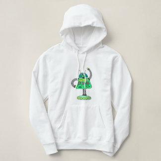 Frankie robot, green on white hoodie