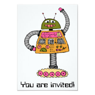 Frankie robot, orange on white card