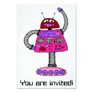 Frankie Robot: Pink on white Card