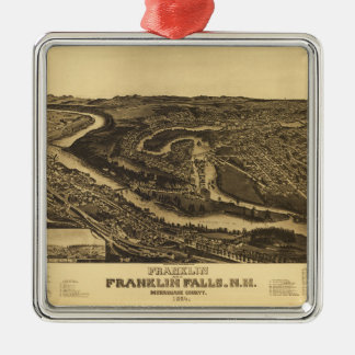 Franklin and Franklin Falls, New Hampshire (1884) Metal Ornament