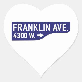 Franklin Avenue, Los Angeles, CA Street Sign Heart Sticker