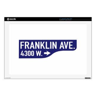 "Franklin Avenue, Los Angeles, CA Street Sign 17"" Laptop Skins"