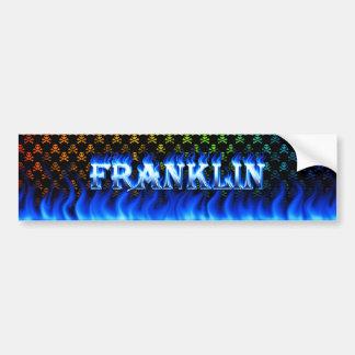 Franklin blue fire and flames bumper sticker desig car bumper sticker