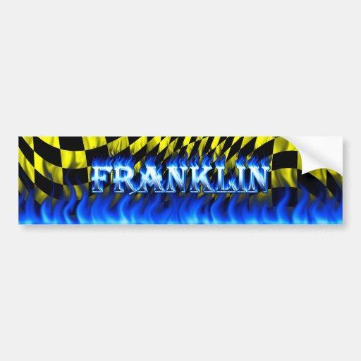 Franklin blue fire and flames bumper sticker desig
