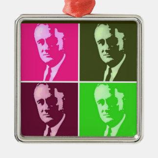 Franklin D. Roosevelt Adorno Navideño Cuadrado De Metal