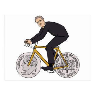 Franklin D Roosevelt Riding Bike With Dime Wheels Postcard