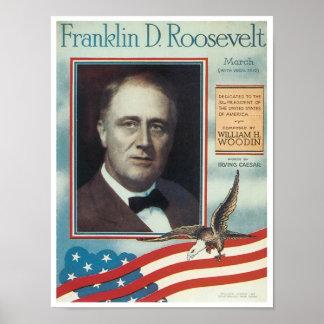 Franklin D Roosevelt Vintage Songbook Cover Poster