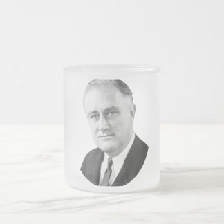 Franklin Delano Roosevelt Frosted Glass Coffee Mug