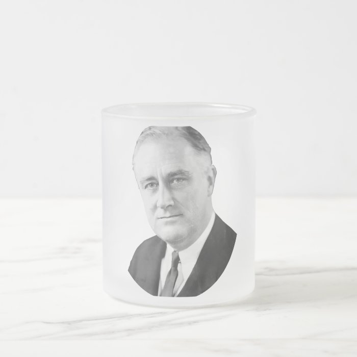 Franklin Delano Roosevelt Frosted Glass Coffee Mug