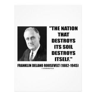 """Franklin Delano Roosevelt Nation Destroys Its Soil 8.5"""" X 11"""" Flyer"""