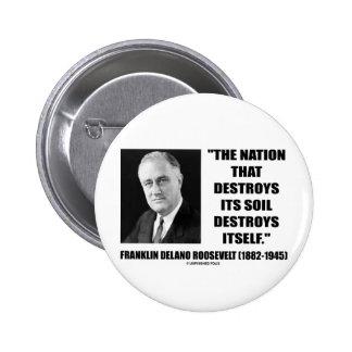 Franklin Delano Roosevelt Nation Destroys Its Soil Pinback Button